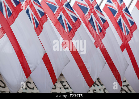 The Saint Georges Flag with the union jack flying at Admiralty Arch London in Honor of the Royal Wedding - Stock Photo