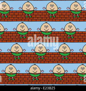 Illustration of repetitive Humpty Dumpty design wallpaper - Stock Photo