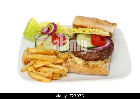 Beef burger on in ciabatta bread with salad and fries - Stock Photo