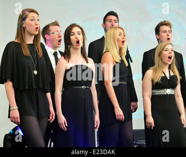Aberystwyth, Wales, UK. 14th June, 2014. Sgarmes perform at MidMad, the annual midsummer festival at Aberystwyth - Stock Photo