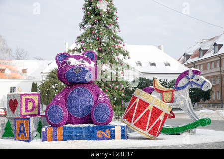 large scale exterior christmas decorations in warsaw poland stock photo - Large Christmas Decorations