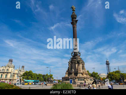 BARCELONA, SPAIN - JUNE 6, 2011: Columbus Monument at the waterfront in Barcelona, Catalonia, Spain. - Stock Photo