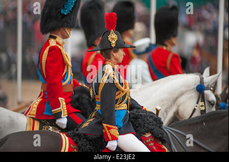 Horse Guards Parade, London UK. 14th June 2014. Members of The Royal Family attending the Queen's Birthday Parade, - Stock Photo