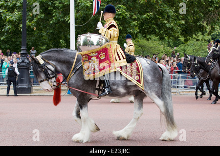 Mounted band of the Household Cavalry at Trooping the Colour Mercury the Drum Horse of the Life Guards and Blues - Stock Photo