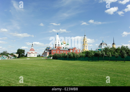 Historical center of the town Kolomna. Big field and a lot of churches shows the marvelous orthodox power of Russia - Stock Photo