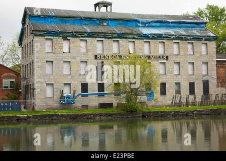 Seneca knitting mills in Seneca Falls NY canal - Stock Photo