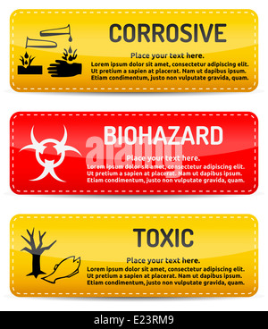 Corrosive, Biohazard, Toxic danger warning sign template with shadow on white background for your text. - Stock Photo