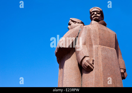 The impressive Latvian Riflemen monument in Riga, Latvia. - Stock Photo