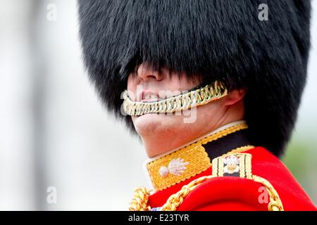 The Queen's Birthday parade Trooping the Colour in London, the United Kingdom, 14 June 2014. The royal watch the - Stock Photo