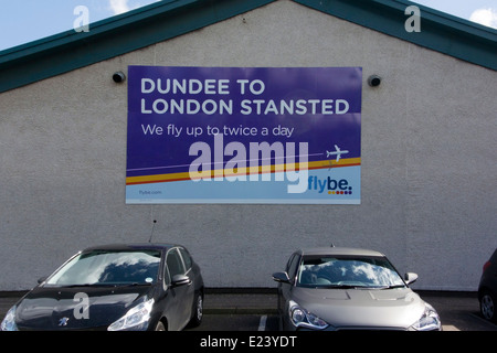 Flybe Advertising Sign Terminal Building Dundee Airport Riverside Drive Dundee - Stock Photo