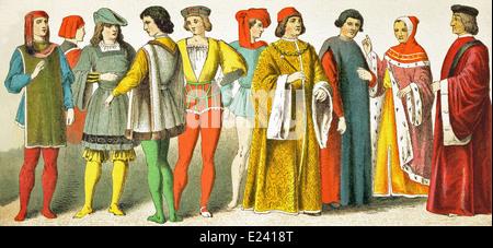 Venetian, two Florentines, page, Italian, page, Italian, magistrate, scholar, Florentine magistrate, Venetian senator - Stock Photo
