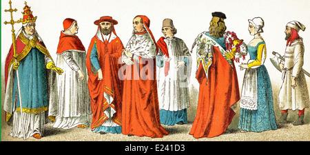 Italians in 1400s: Pope Boniface IX, Boniface IX in house dress, two cardinals, canon, Venetian of rank, female - Stock Photo