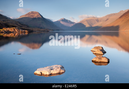 Beautiful calm spring evening at 'Britain's Best View' Wast Water in the English Lake District - Stock Photo
