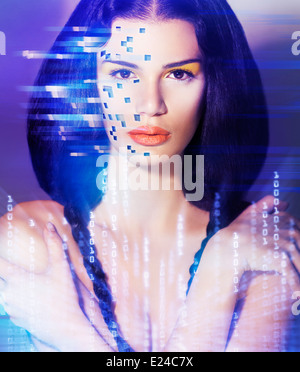 Portrait of a young beautiful woman face in digital virtual reality world. Artistic concept. - Stock Photo