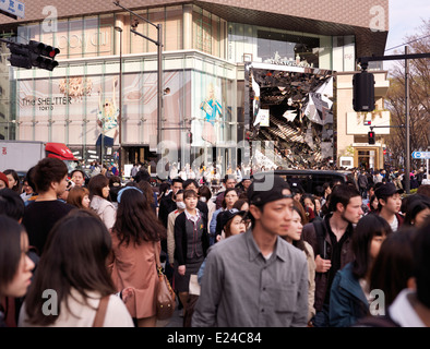 Streets crowded with young people at Tokyu Plaza Omotesando Harajuku shopping center in Tokyo, Japan. - Stock Photo