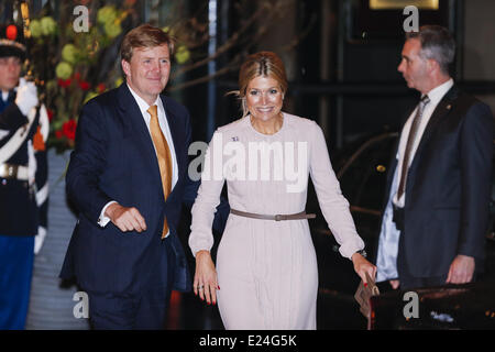 Prince Willem-Alexander and wife princess Maxima at the celebration of the 75th anniversary of the Queen. Utrecht, - Stock Photo