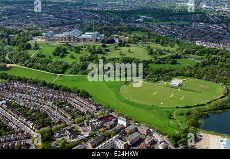 An aerial view of Alexandra Palace and Park in London. - Stock Photo