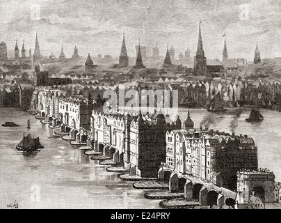 Old London Bridge, with the four-story Nonsuch House, completed in 1579, London, England in the 16th century. - Stock Photo