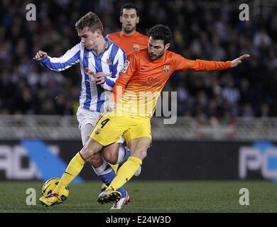 FC Barcelona vs. Real Sociedad La Liga match at the Anoeta Stadium  Featuring: Cesc Fabregas Where: San Sebastian, - Stock Photo