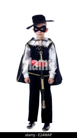 Cute little boy posing in Zorro costume - Stock Photo