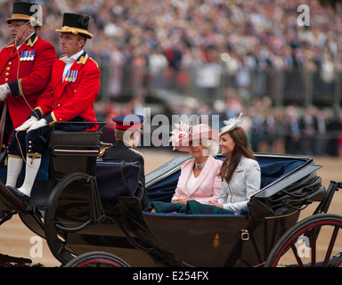 Members of The Royal Family attending The Queen's Birthday Parade, Trooping the Colour - Stock Photo
