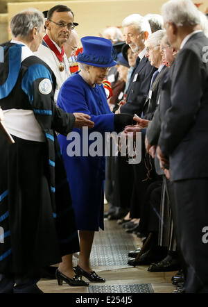 Queen Elizabeth II and Prince Philip, Duke of Edinburgh during the Maundy Thursday service conducted by the Bishop - Stock Photo