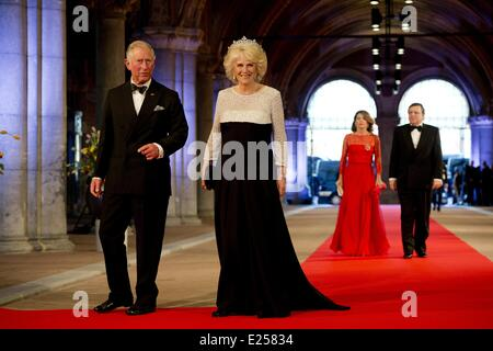 Queen Beatrix Of The Netherlands hosts a Gala Dinner ahead of her abdication  Featuring: Prince Charles,Camilla,Duchess - Stock Photo