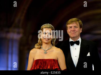 Queen Beatrix Of The Netherlands hosts a Gala Dinner ahead of her abdication  Featuring: Princess Maxima,Prince - Stock Photo