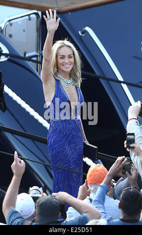 66th Cannes Film Festival - Day 7 - Celebrity Sightings - Sharon Stone departs from Roberto Cavalli's Yacht  Featuring: - Stock Photo