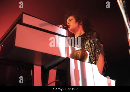 Canadian indie rock band, Arcade Fire performing in concert at the Roundhouse  Featuring: Régine Chassagne Where: - Stock Photo