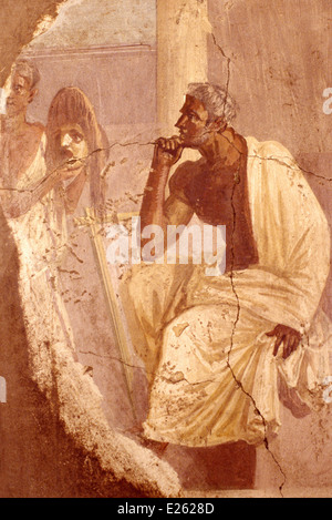 italy,naples,national archeological museum,fresco - Stock Photo