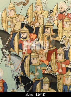 Ottoman history,Turkish cavalry at the Battle of Erlau,miniature from manuscript of the 16th century,istanbul,topkapi - Stock Photo