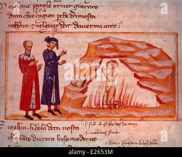 history of literature,Divine Comedy,Dante and Virgil in Hell,miniature of 14th century,milan,Biblioteca Ambrosiana - Stock Photo