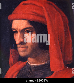 Lorenzo the Magnificent,portrait of Bronzino,firenze,studio medici - Stock Photo