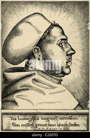 Martin Luther, (1483-1546). German reformer. Portrait. Engraving by Daniel Hopfer, 1523. - Stock Photo