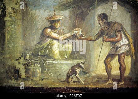 ancient art from Pompeii,witch and hiker,fresco,National Archaeological Museum of Naples - Stock Photo