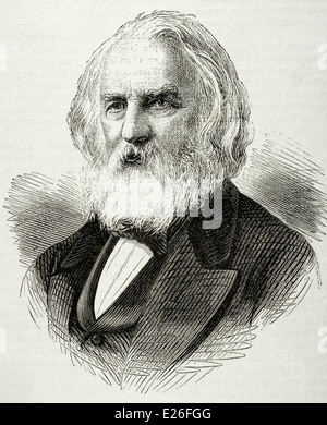 Henry Wadsworth Longfellow (1807-1882). American poet and educator. Engraving, 19th century. - Stock Photo