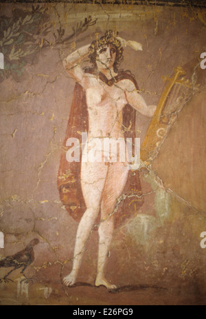 Roman art,hermaphroditus,fresco fragment of the 2nd century,Barracco Museum,Rome - Stock Photo