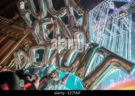 Detroit, Michigan, USA. 13th June, 2014. WAYNE COYNE of THE FLAMING LIPS performing on the 2014 Summer Tour at The - Stock Photo