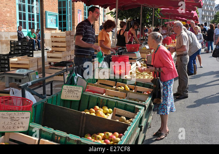fruit and vegetable market, rennes, brittany, france - Stock Photo