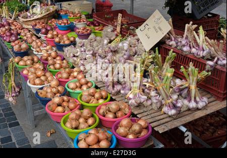 garlic on market stall, rennes, brittany, france - Stock Photo