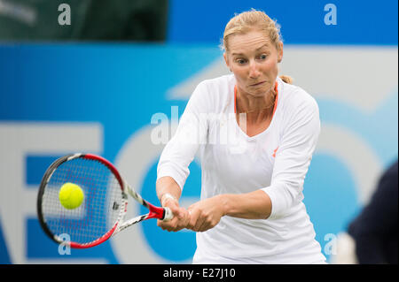 Eastbourne, UK. 16th June, 2014. Ekaterina Makarova of Russia in action in her doubles match on Day One of the Aegon - Stock Photo