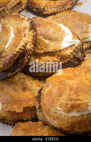 A central France speciality, potato pies are a kind of pies containing potatoes cut into thin slices and thick fresh - Stock Photo