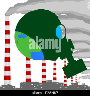 A complex of industrial buildings, smoking chimneys and planet Earth in a gas mask. Illustration on white background. - Stock Photo