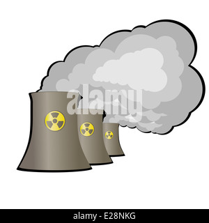Pipes and energy complex with radiation sign. Illustration on white background. - Stock Photo