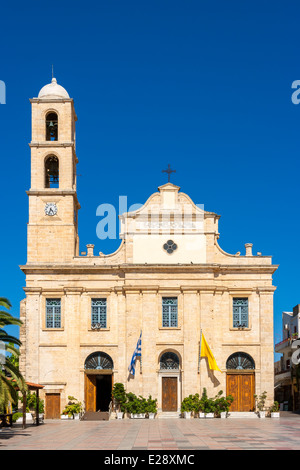 Trimartyri Cathedral at the main square in Chania. Crete, Greece, Europe - Stock Photo