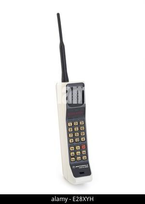 motorola 8000x. vintage motorola dynatac 8000x produced in 1984 first mobile cellular phone. - stock photo