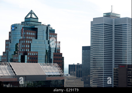 View of Place Ville-Marie IM Pei building [right] in downtown Montreal viewed from the plaza on Mount Royal Lookout - Stock Photo
