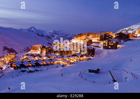 France, Savoie, Les Menuires ski resort in the Three Valleys, Des Bellevilles valley, the district Reberty - Stock Photo