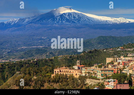 View of Mount Etna covered of snow from Taormina - Stock Photo